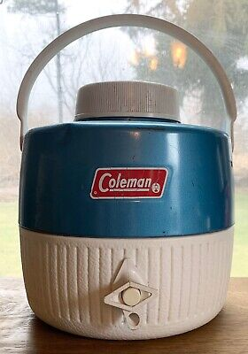 $9.30 • Buy Vtg Coleman Jug Cooler Green 1 Gallon Water Dispenser Thermos Camping Drink Cup