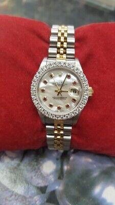 AU3250 • Buy Rolex Oyster Perpetual Datejust MOP Set With Diamonds Bezel And Ruby Dial 69173