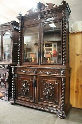 AU2995 • Buy An Antique French Gothic Bookcase Display Cabinet With Desk 2.55m Tall
