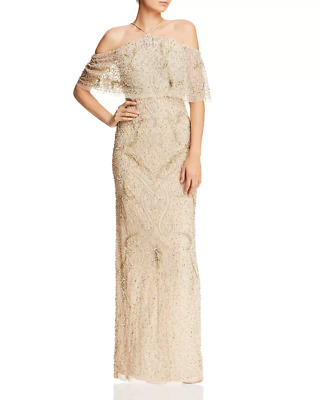$74.99 • Buy Aidan Mattox Cold-Shoulder Beaded Gown $395 Size 2 # 14A 620 Blm