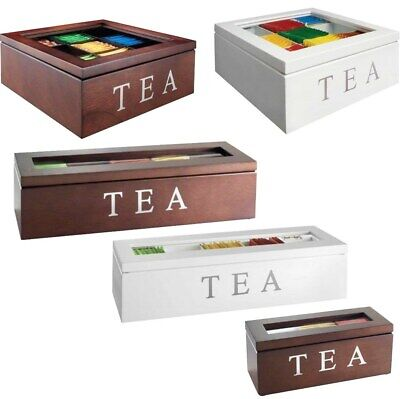AU44.91 • Buy VINTAGE Wooden Tea Box Kitchen Storage Container W Glass Lid 3/5/9 Compartments