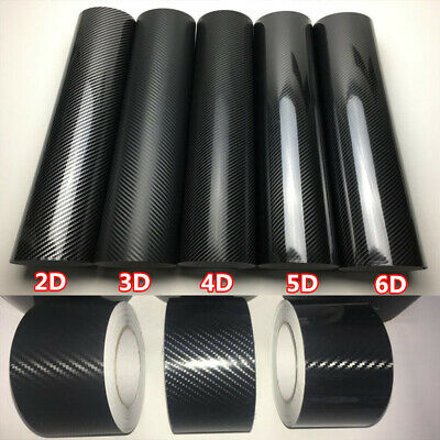 Black 2D 3D 4D 5D 6D Carbon Fiber Vinyl Tape Car Wrap Film Sticker Adhesive PVC • 6.99£