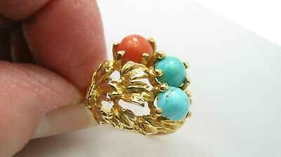 Egyptian 18ct Gold Turquoise & Coral Dress Ring 7.2 Grammes UK Size Q • 599£