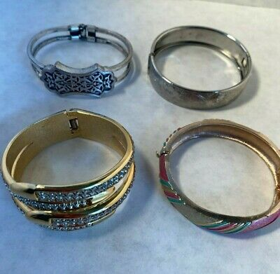 $ CDN8.77 • Buy Lot Of 4 Vintage Bracelets Hinged Gold Silver Tone Multi Colored