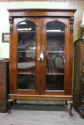 AU995 • Buy An Antique Victorian Mahogany Glazed Bookcase Display Cabinet