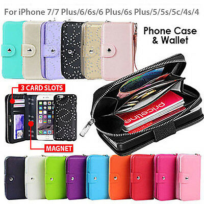 AU12.93 • Buy IPhone 8 Plus 6s Case SE For Apple Zip Wallet Magnetic Leather Cover Coins Flip
