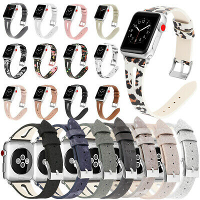 $ CDN14.46 • Buy Slim IWatch Strap Watch Band Floral Real Leather For Apple Watch Series 54/3/2/1