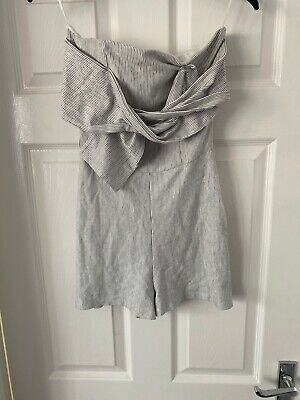 Zara Blue White Striped Bow Bandeau Playsuit Size S • 1.40£