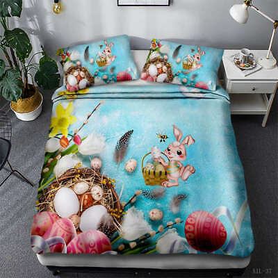 AU94.55 • Buy Harvest Rabbit 3D Quilt Duvet Doona Cover Set Single Double Queen King Print