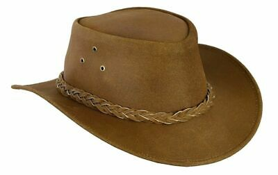 FREE DELIVERY Australian Style Leather Cowboy Hat Western Tan Brown Bush Hat  • 14£