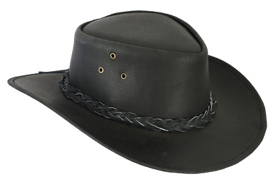 £10 • Buy FREE DELIVERY Waterproof Australian Style Black Leather Cowboy Hat Real Leather