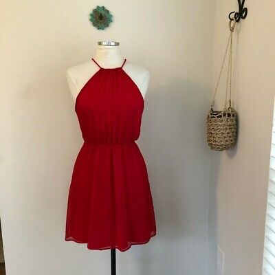 $21.99 • Buy Zara Dress Size Medium Women Crepe Rope Halter Cocktail Red Party Fit & Flare M