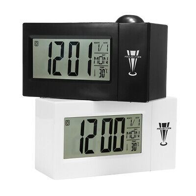 Snooze Alarm Clock Backlight Wall Projector Projection Clocks With Thermometer • 18.99£