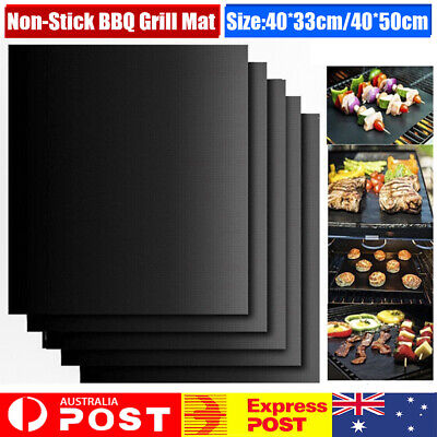 AU9.22 • Buy 1/3/6 BBQ Grill Mat Reusable Sheet Resistant Teflon Non-Stick Barbecue Bake Meat