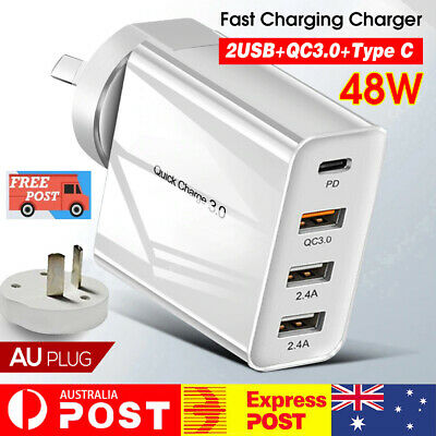 AU20.74 • Buy QC3.0 48W PD Fast Charging Charger Multi USB Type C Wall AU Plug Adapter 4 Port