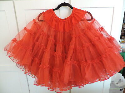 $25 • Buy VINTAGE SQUARE DANCE RED 4 Tiers CRINOLINE ROCKABILLY SLIP RUTHAD
