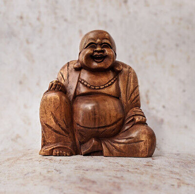Laughing Buddha Statue Wooden Hand Carved Laughing Chinese CLEARANCE 18cm • 16.99£