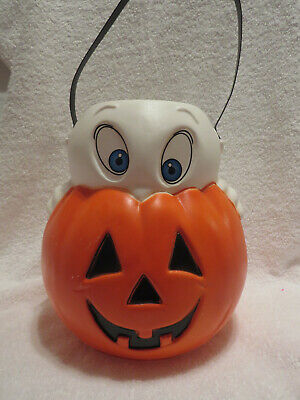 $ CDN15.51 • Buy Vintage Halloween 9  Empire Ghost And Pumpkin Trick-Or-Treat Blow Mold Pail