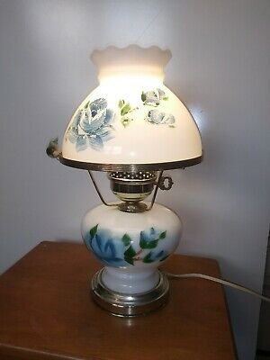 $ CDN76.12 • Buy Vintage Hand Painted Milk Glass Hurricane Lamp GWTW Blue Rose With Bird Perched