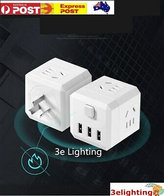 AU20.99 • Buy Power Board 4 Way Outlets Socket 3 USB Charger Ports Smart Handy Cordless AUS