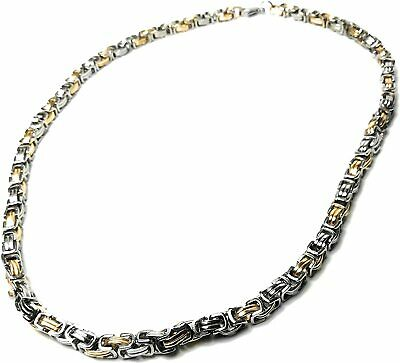 Men's CHUNKY Silver GOLD  Stainless STEEL Necklace  22 INCH    UK SELLER • 5.99£