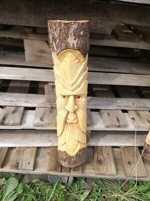 Green Man Of The Woods Hand Carved Wizard Varnished Wood Man  ENT LOTR 50cm C • 19.99£