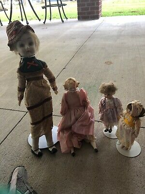 $ CDN19.22 • Buy Lot Of 4 Porcelain Dolls With Stands