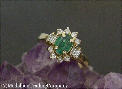 £312.66 • Buy 14k Yellow Gold .75 CT Colombian Oval Emerald Baguette Diamond Halo Ring Size 6
