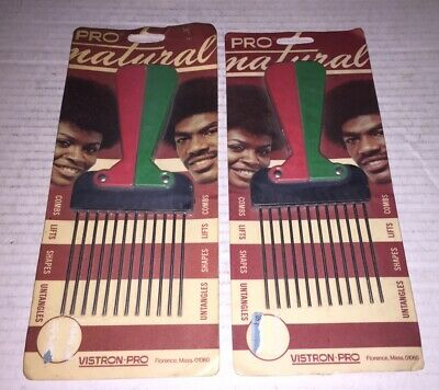$19.95 • Buy Vintage VISTRON PRO NATURAL Plastic / Metal Afro Pick Pic Pik Comb 1970's 2 Lot