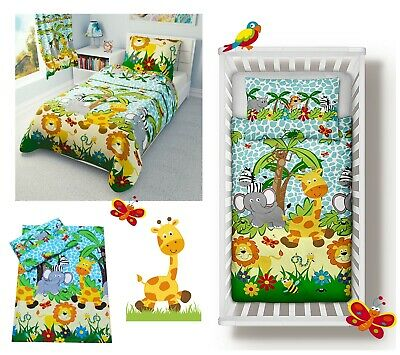 BLUE JUNGLE Baby Bedding Set Duvet Covers For Cot/Cot Bed/Toddler 100% COTTON • 14.99£