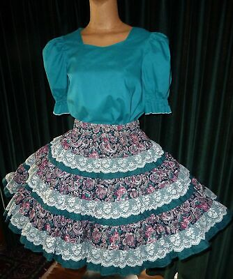 $22.50 • Buy Lacy Teal Skirt & Blouse  2pc Square Dance SM/MED  Bust 40   W-28-36 L-21