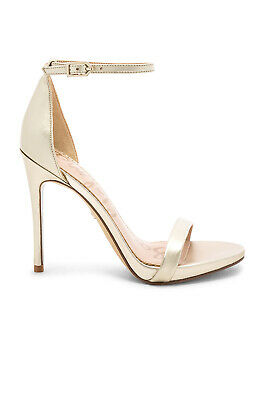 $ CDN93.53 • Buy Sam Edelman $100 Ariella Heel Jute Light Gold Leather Ankle Strap Size 8