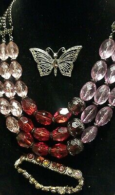 $ CDN18.74 • Buy Lia Sophia Butterfly Brooch Lot Pink/red Lucite 3-strand Necklace, Bracelet