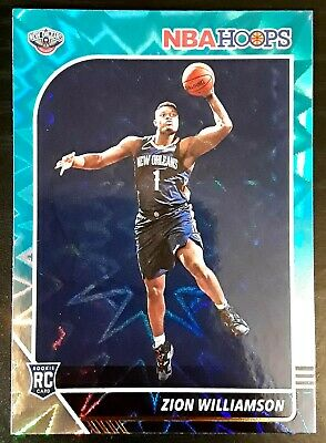 $150 • Buy 2019-20 Hoops Zion Williamson Teal Explosion Rookie Card RC #258 Pelicans