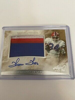 $0.01 • Buy Thurman Thomas 2015 Leaf Q On Card Auto Three Color Game Used Jersey Card