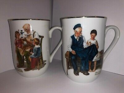 $ CDN30.39 • Buy 2pc Set - Norman Rockwell Coffee Cup Mug - The Toymaker / The Lighthouse Keeper'