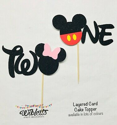 AU10 • Buy MICKEY MINNIE MOUSE THEME ONE 1 1st Or TWO 2 2nd BIRTHDAY PARTY CAKE TOPPER EARS