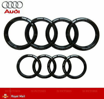 £13.95 • Buy Audi Gloss Black Front Rear Grille Bonnet Badge Rings A1 A3 A4 S3 RS 273mm 193mm
