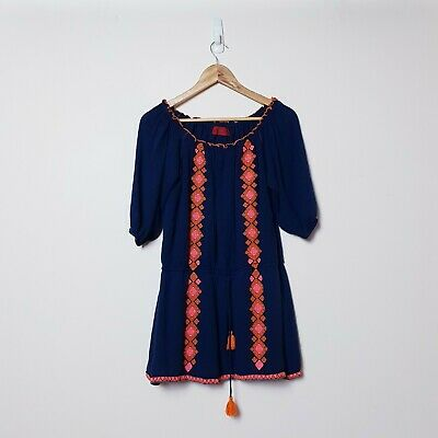 AU39.95 • Buy Tigerlily Size 10 Navy Blue Orange Boho Hippie Cute Tassel Dress