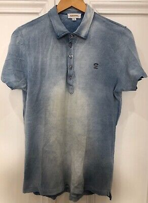 Mens Diesel 5 Button Polo Shirt In Stonewash Denim Blue Size Small • 15£