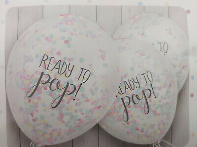 UNISEX RAINBOW CONFETTI FILLED READY TO POP BALLOONS BABY SHOWER BOY Or GIRL • 4.95£