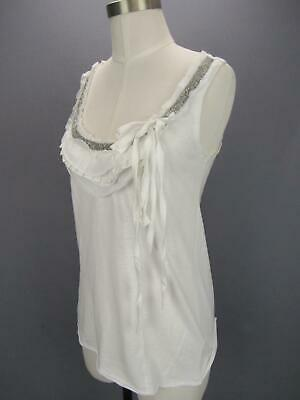 $ CDN27.75 • Buy C Keer Anthropologie White Scoop Neck Sleeveless Silver Beaded Top Small NWT