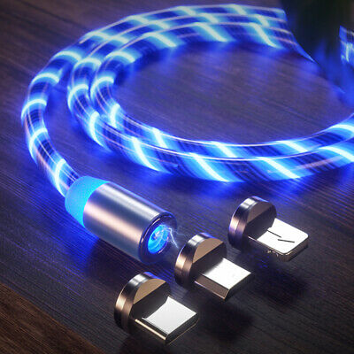 AU12 • Buy LED Flowing Light Up Magnetic Fast Charger Cable Android Type C Micro USB IOS