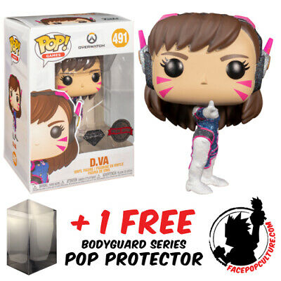 AU19.90 • Buy Funko Pop Vinyl Overwatch D.va Diamond Glitter #491 Exclusive + Pop Protector