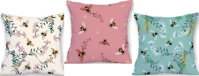 Soft Velvet Feel Bumble Bee Cushion 45x45cm Choose Cover Only Or Filled Cushion • 12.99£