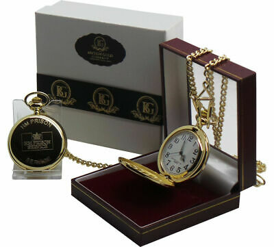HM PRISON SERVICE Gold Pocket Watch Jail Warden Officer HMP Luxury Gift Case • 29.99£