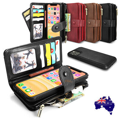 AU20.99 • Buy For IPhone 11 Pro Max XS XR X Detachable Leather Zipper Wallet Card Case Cover