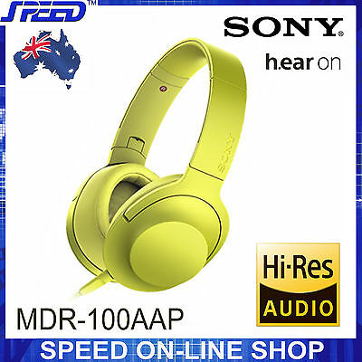AU249 • Buy SONY MDR-100AAP H.ear On Hi-Res Stereo Headphones - Lime Yellow