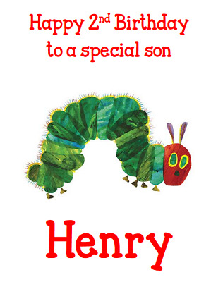 Personalised Greetings Card Birthday Party The Very Hungry Caterpillar 1st 2nd 3 • 1.99£
