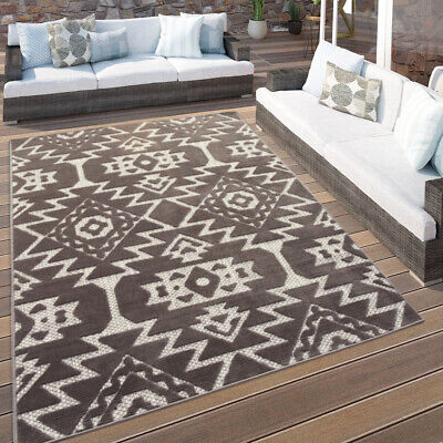 Modern Grey Aztec Rug Washable Indoor Outdoor Rugs Easy Clean Dining Room Mats • 39.95£